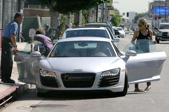 Diana Agron in a super sporty Audi R8